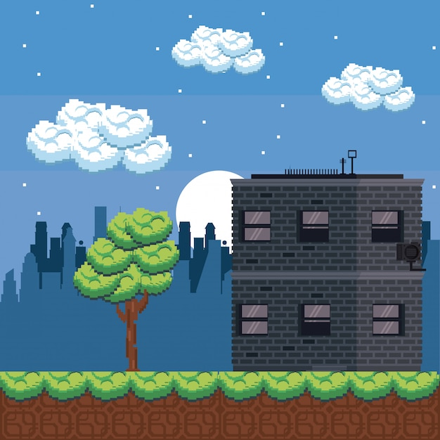 Pixelated urban videogame scenery Premium Vector