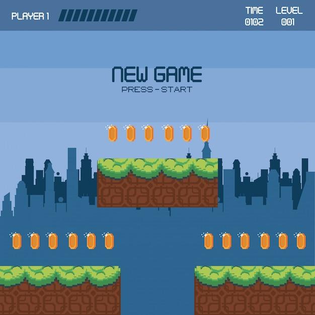 Pixelated urban videogame scenery Premium Vector