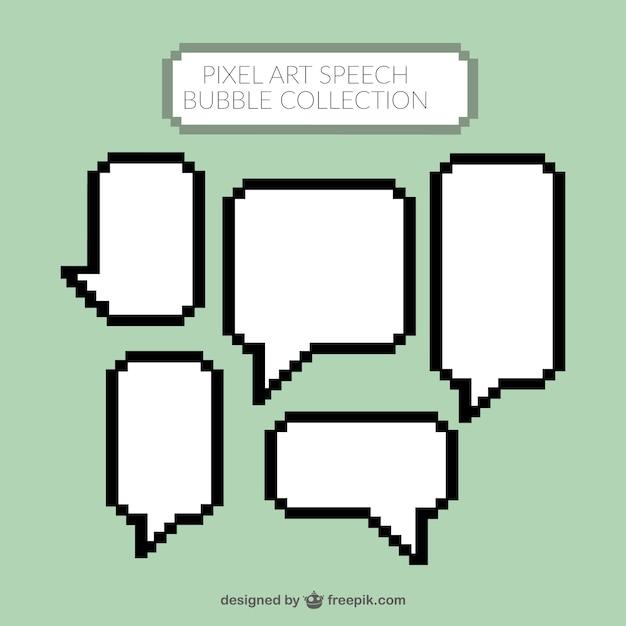 Pixelated White Speech Bubbles Vector