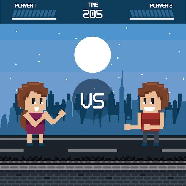 Pixelated городской пейзаж видеоигр Premium векторы