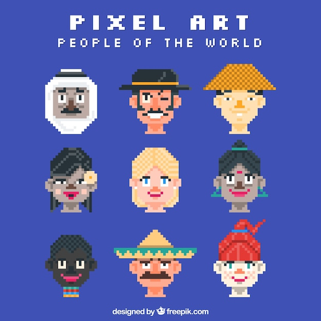 Pixilated avatars of people in the world
