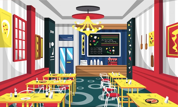 Pizaa cafe with modern style Premium Vector