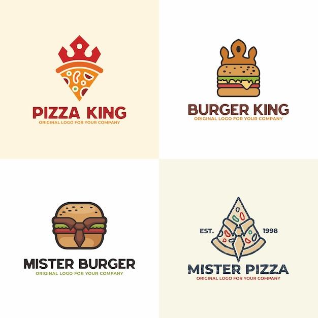 Пицца и гамбургер логотип. продовольственная коллекция логотипов. Premium векторы