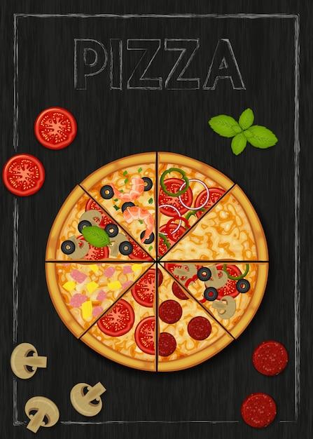 ピザと木製の黒い背景にピザの食材。ピザメニュー。チラシ。パッケージ化、広告、メニューのオブジェクト。 Premiumベクター
