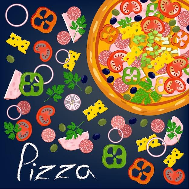 Пицца и ингредиенты. Premium векторы