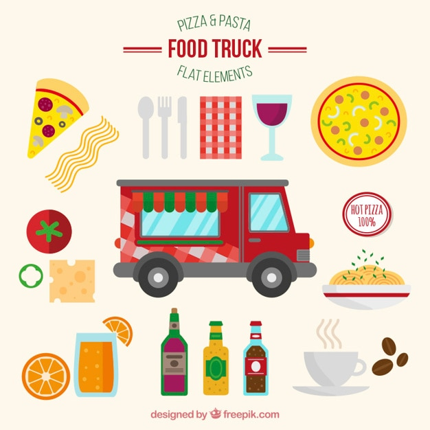Pizza and pasta food trucks in flat\ design