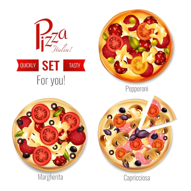 Pizza in assortment set Free Vector
