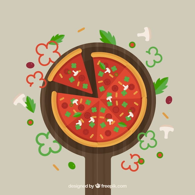 Pizza background in flat design