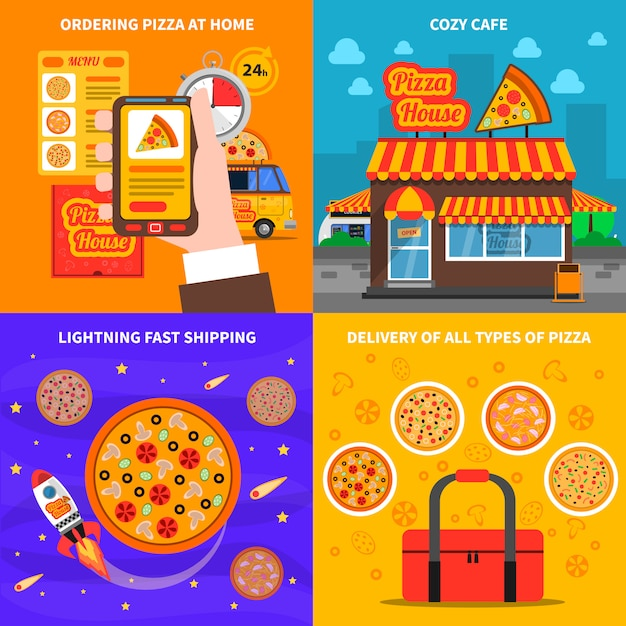 Pizza background set Free Vector