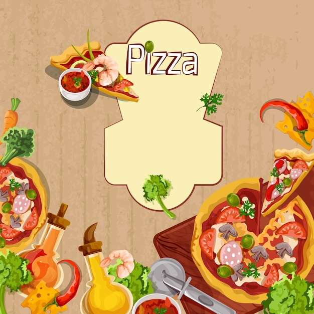 pizza background template vector free download