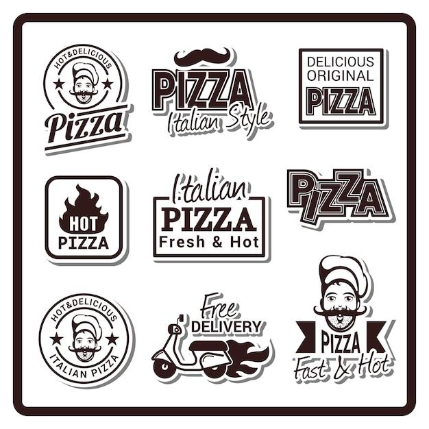 ピザバッジのロゴ Premiumベクター