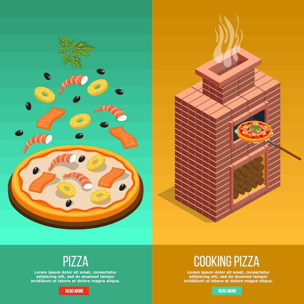 Pizza baking banner set Free Vector