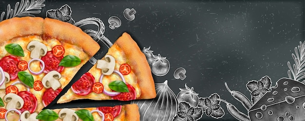 Pizza banner ads with  illustration food and woodcut style illustration on chalkboard background Premium Vector