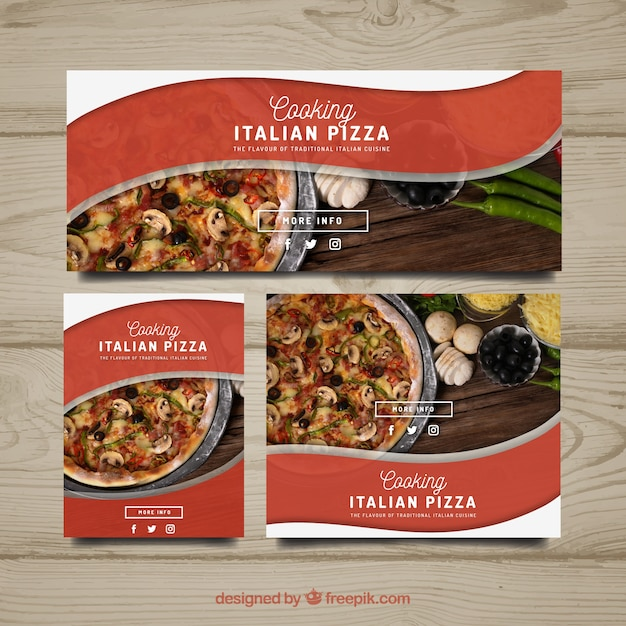 Pizza banner collection Free Vector