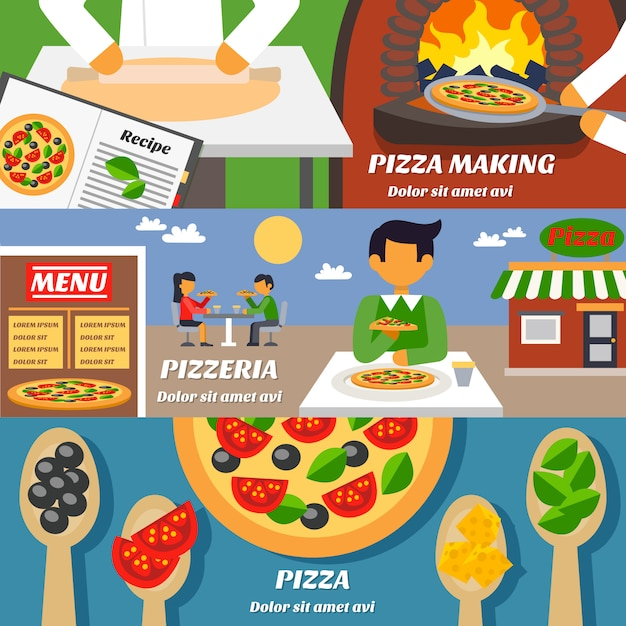 Pizza banners set Free Vector