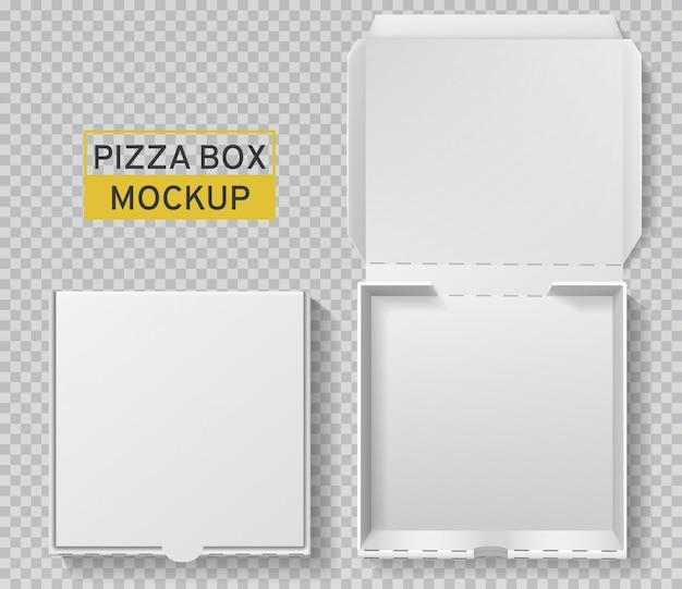 피자 박스. 개방 및 폐쇄 피자 팩, 평면도 종이 흰색 판지 모형, 식사 배달, 패스트 푸드 점심 현실적인 템플릿 프리미엄 벡터
