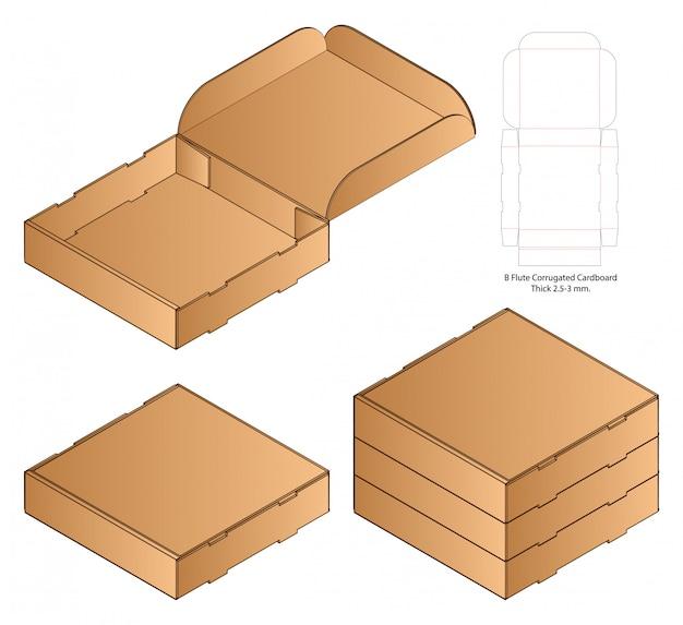 Pizza box packaging die cut template design. 3d Premium Vector