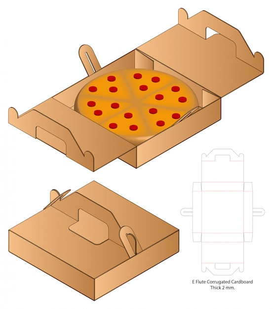 Pizza box packaging die cut template design. 3d Premium Vector