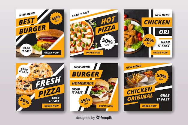 Pizza and burger  instagram post collection with photo Free Vector