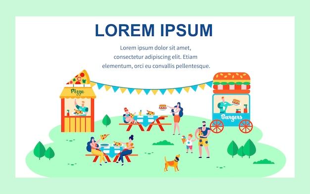 Pizza and burgers fest, summer leisure, people Premium Vector