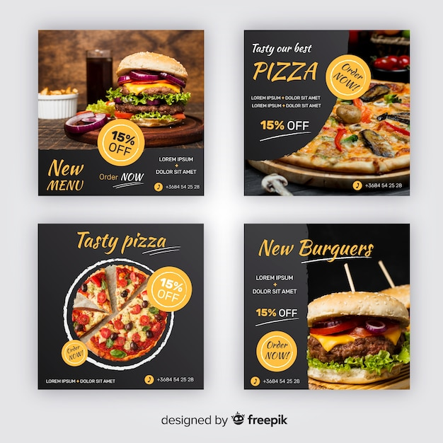 Pizza and burgers instagram post collection Free Vector