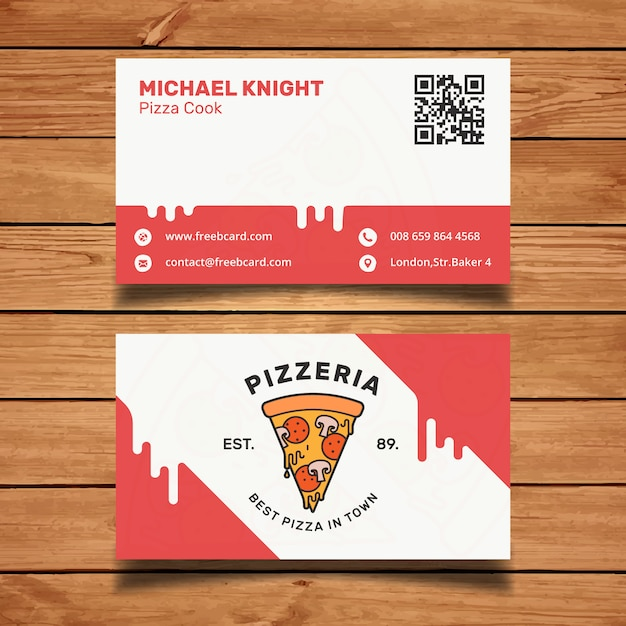 Pizza business card Free Vector