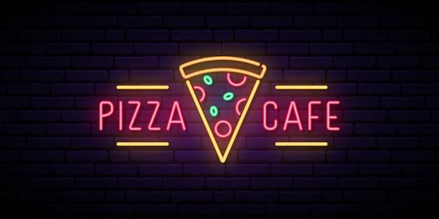 Pizza cafe neon sign. Premium Vector