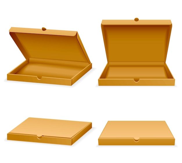 피자 골판지 상자. 운송 패스트 푸드 그림에 대한 개방 및 폐쇄 현실적인 빈 포장 프리미엄 벡터