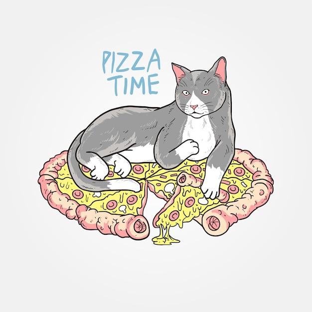 ピザ猫かわいい Premiumベクター