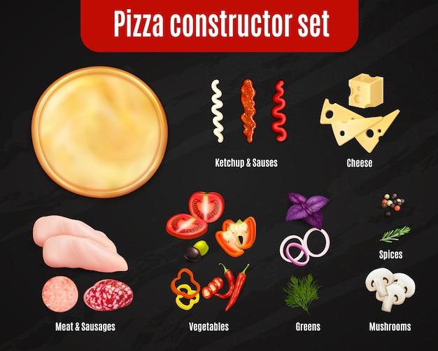 Pizza constructor реалистичный набор Бесплатные векторы