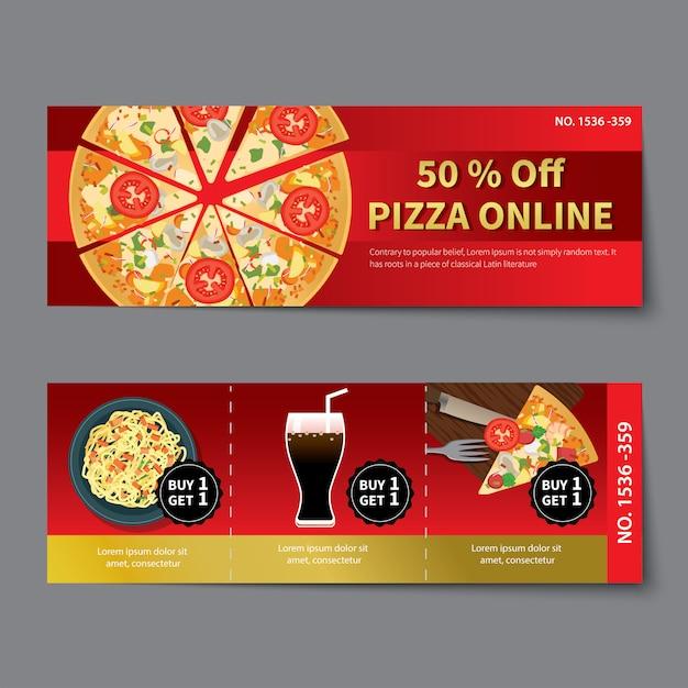 Pizza coupon discount template flat design Premium Vector
