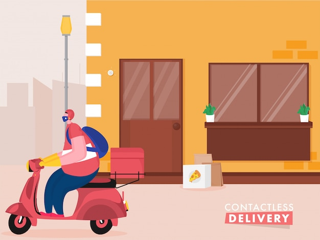 Pizza courier man riding scooter with putting parcel at door for contactless delivery during coronavirus. Premium Vector