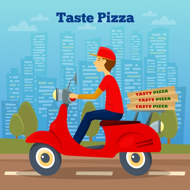Pizza courier on scooter Premium Vector