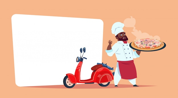 Pizza delivery concept african american chef cook hold box with hot dish standing at red motor bike template banner with copy space Premium Vector