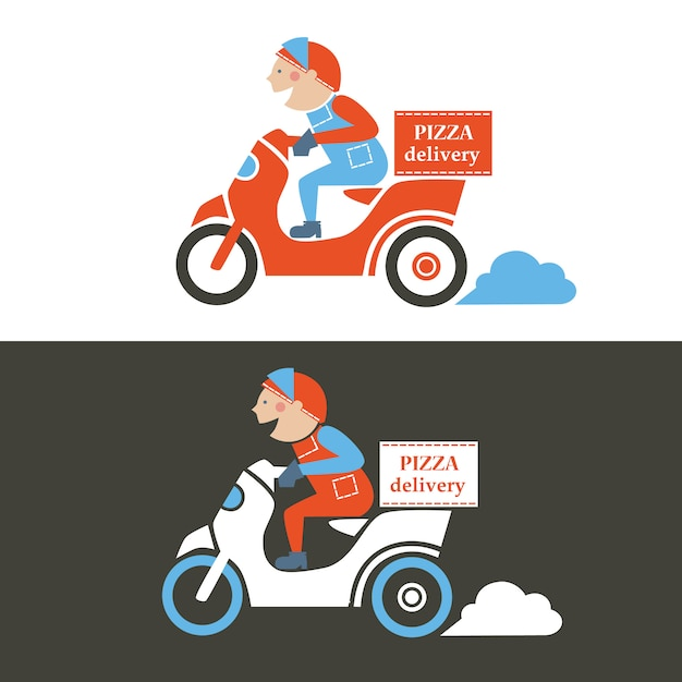 Pizza delivery guy on a scooter. isolated   illustration. Premium Vector
