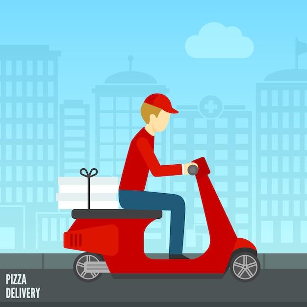 Pizza delivery icon Free Vector