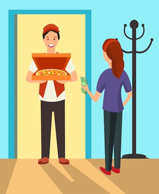 Pizza delivery man at doorway flat characters Premium Vector