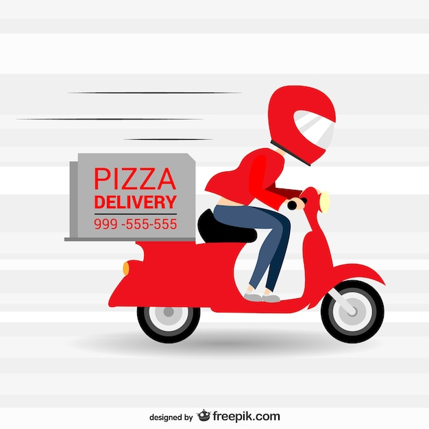 Pizza delivery in a motorbike Free Vector