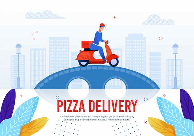 Pizza delivery service advertising text Premium Vector