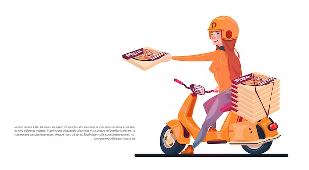 Pizza delivery service young girl riding electric scooter shipping food from restaurant banner with Premium Vector