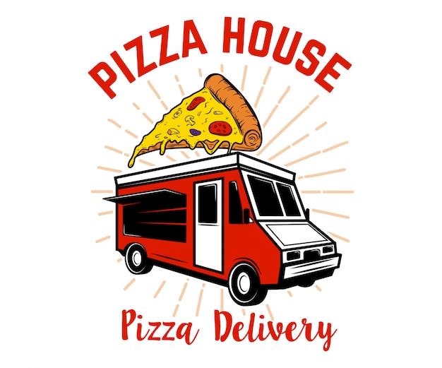 ピザ配達トラック。ロゴ、ラベル、エンブレム、記号の要素。画像 Premiumベクター