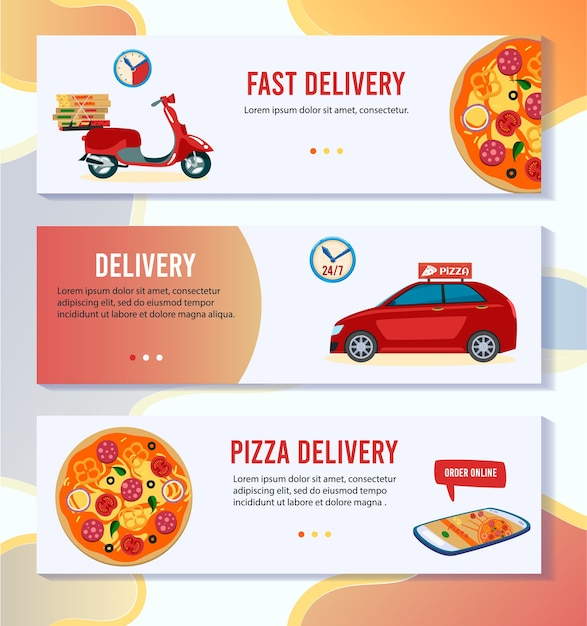 ピザ配信ベクトルイラスト。ピッツェリアショップでピザをオンライン注文、スクーターまたは車で宅配便無料で配達する漫画フラットモバイルアプリバナーセット Premiumベクター
