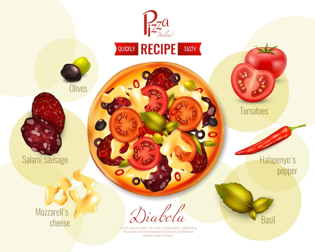 Pizza diabola recipe illustration Free Vector