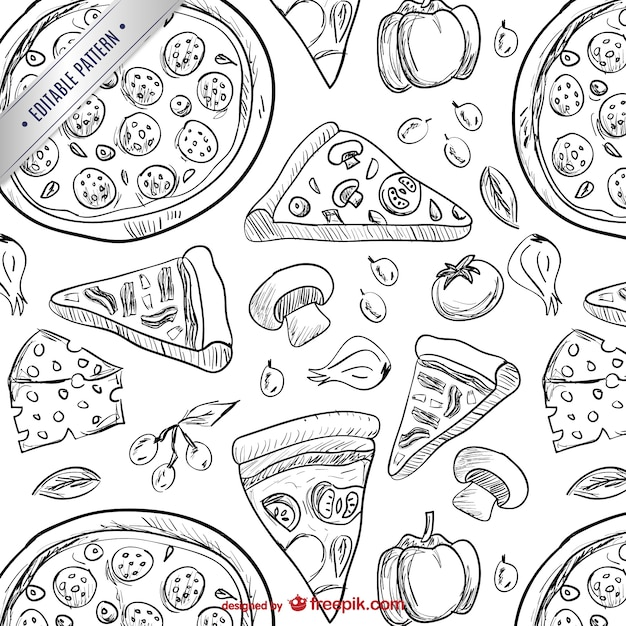 Pizza drawings pattern Free Vector