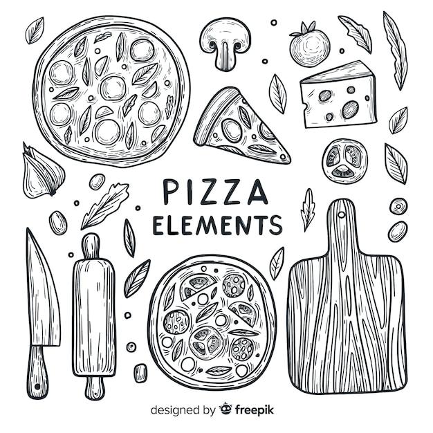 Pizza elements Free Vector