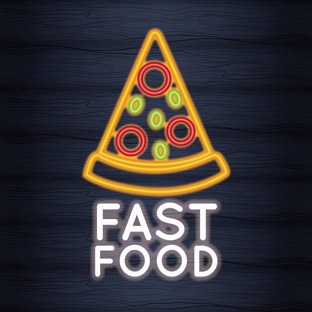 Pizza fast food neon lights Premium Vector
