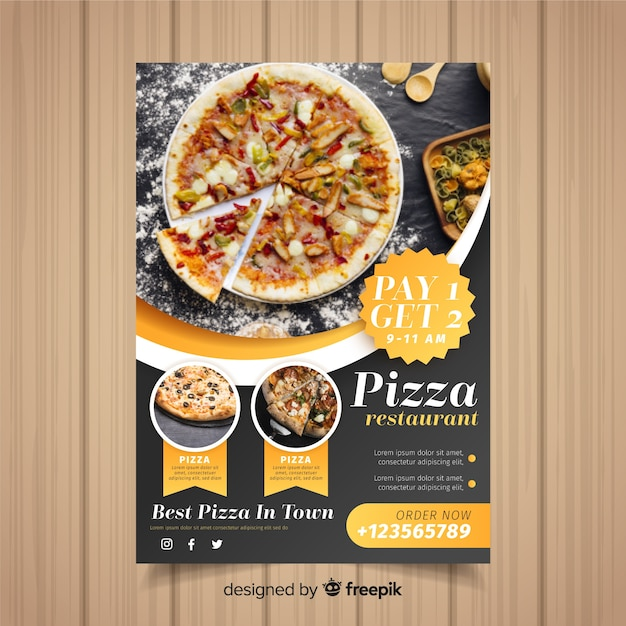 Pizza flyer template Free Vector