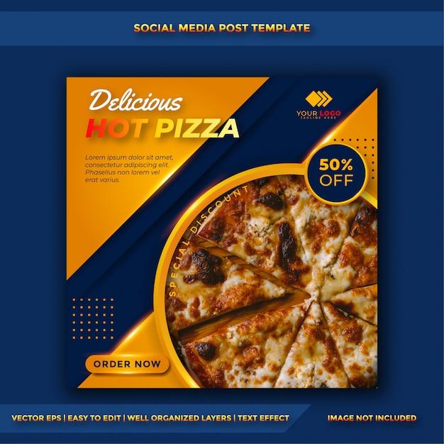 Шаблон публикации в социальных сетях pizza food & кулинария Premium векторы