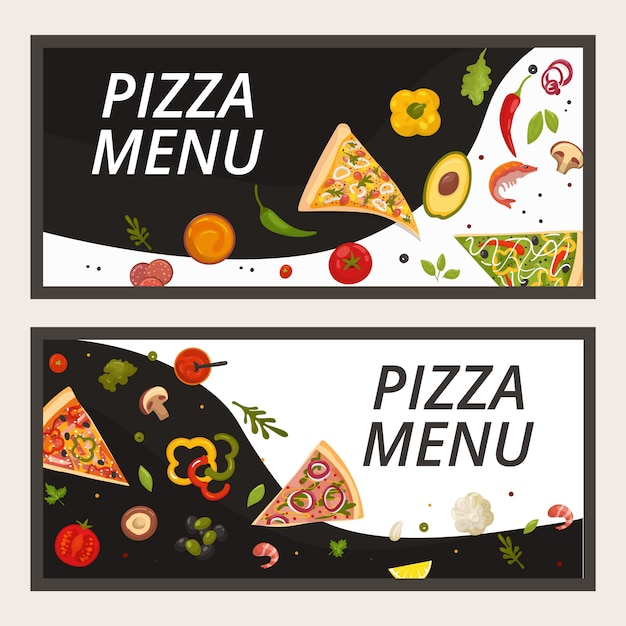 Pizza food menu for pizzeria restaurant, cartoon banner  illustration. italian banner set, pepperoni and cheese pizza flyer. dinner meal cuisine poster concept, italy cook . Premium Vector