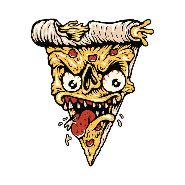Pizza food monster illustration t-shirt Premium Vector
